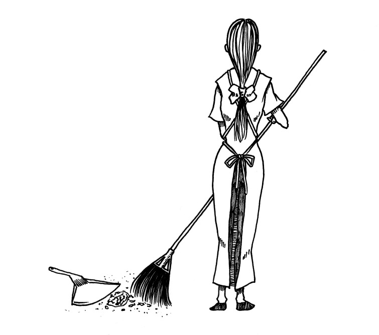 掃除する女
